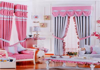 简约圆点图案卧室窗帘