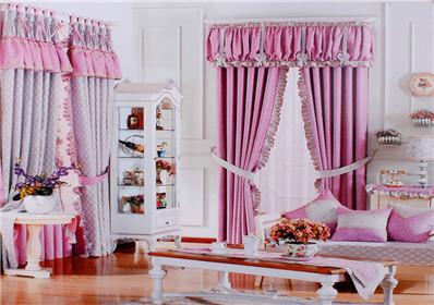 条纹圆点图案卧室窗帘