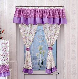 紫色碎花门帘