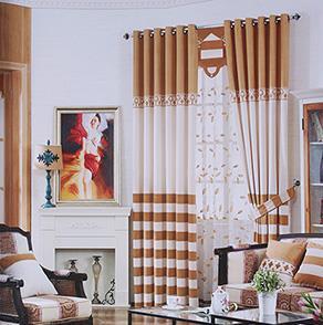 经典咖色条纹卧室窗帘