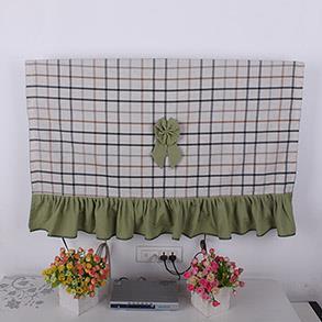 咖色格子布电视罩