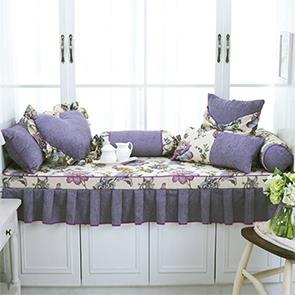 紫色雪尼尔飘窗垫