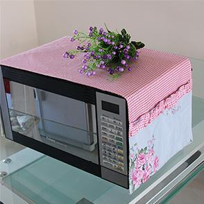 粉色格子微波炉罩