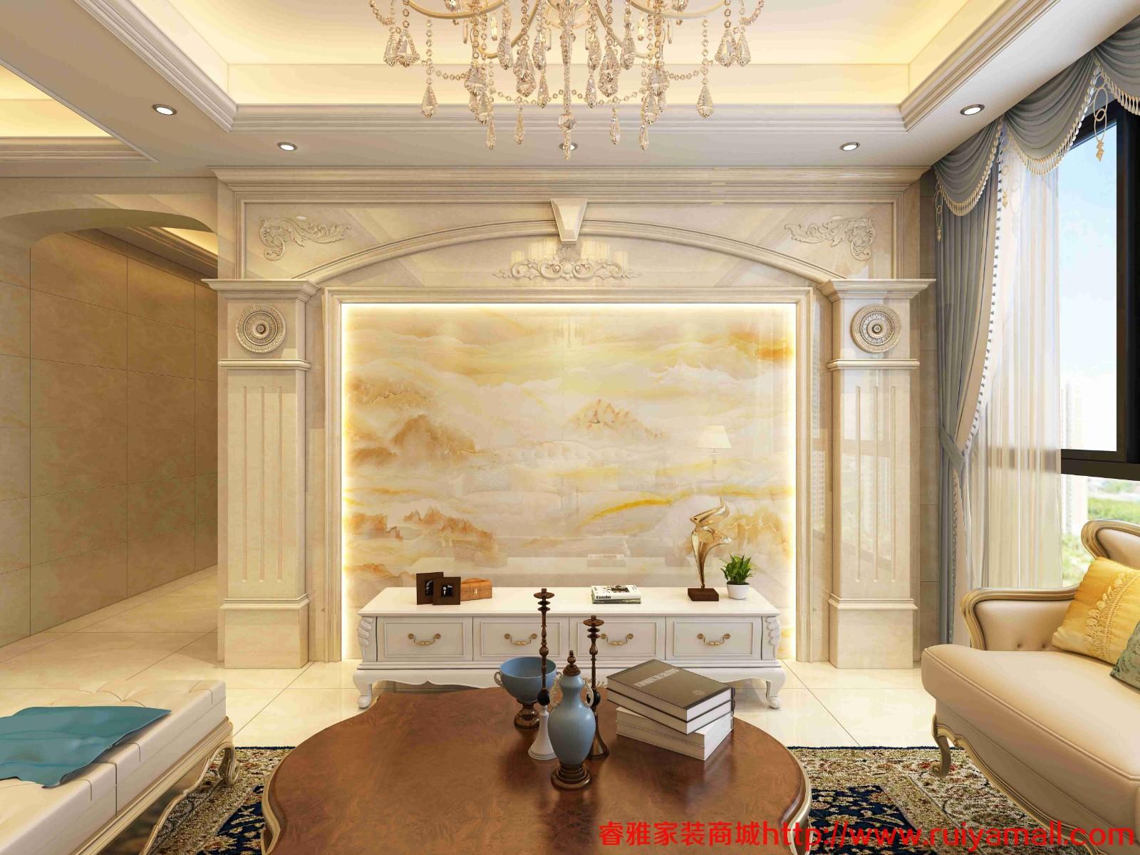 电视背景墙瓷砖现代简约客厅3D微晶石石材边框装饰造型石材护墙板-套餐8
