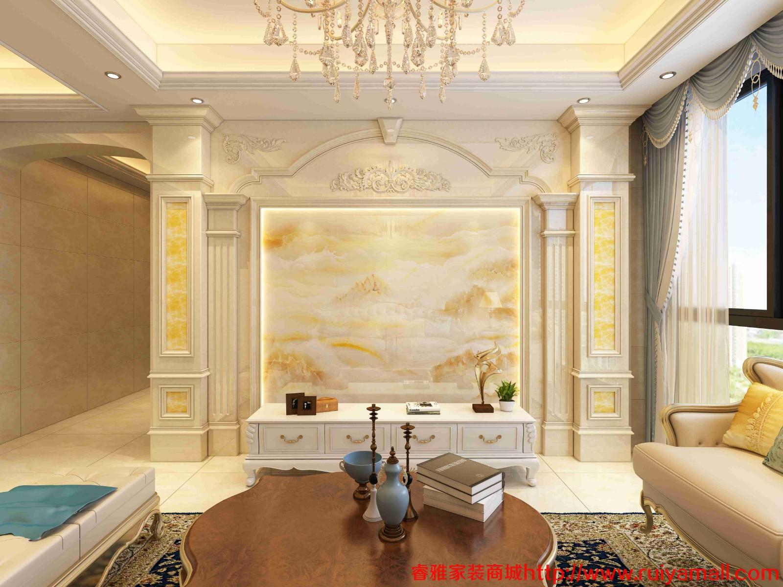 电视背景墙瓷砖现代简约客厅3D微晶石石材边框装饰造型石材护墙板-套餐9