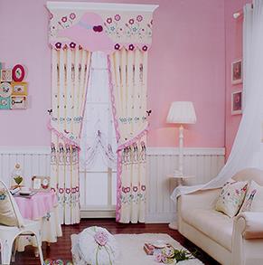 粉色小女孩儿童房窗帘