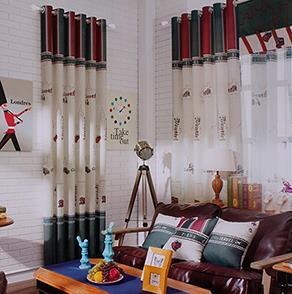 绿色城堡卡通儿童房窗帘