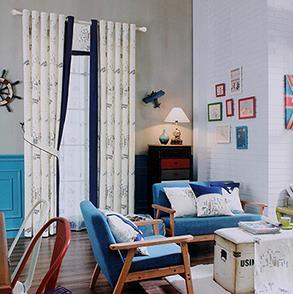 英伦地图儿童房窗帘