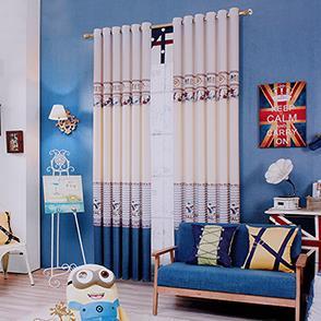 蓝色英伦儿童房窗帘