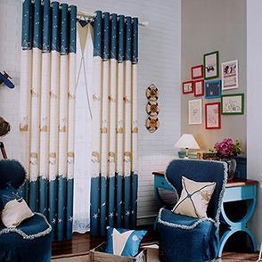 蓝色鲸鱼儿童房窗帘