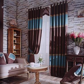 蓝咖拼接卧室窗帘