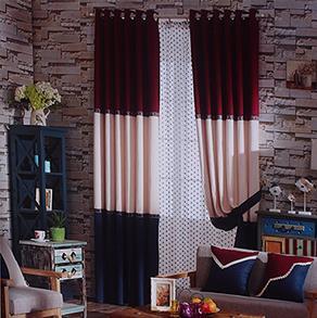 红白蓝三色拼接窗帘