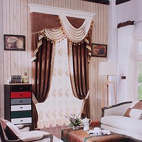 咖色雪尼尔卧室窗帘