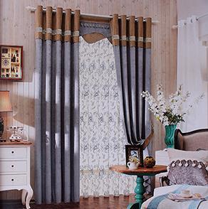 紫咖两色拼接窗帘