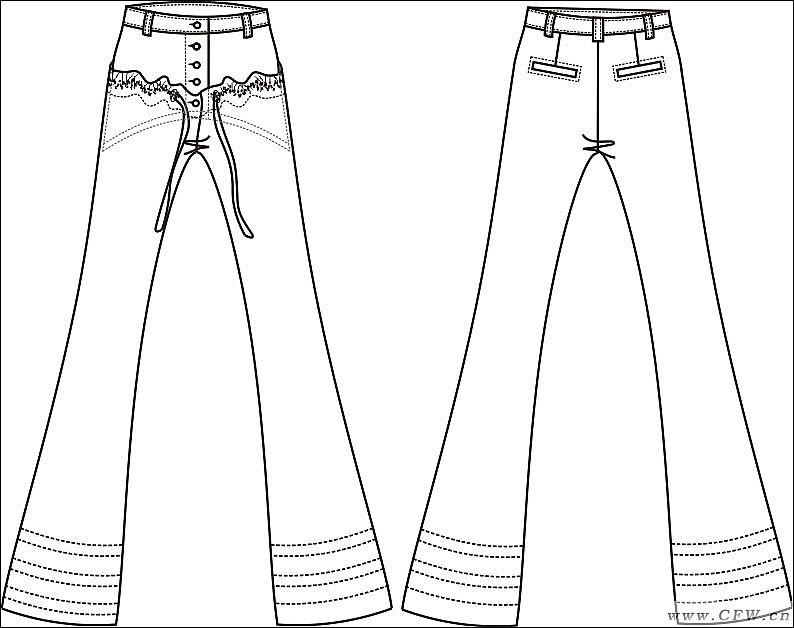 喇叭裤手绘图片