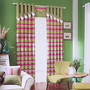 绿色条纹卧室窗帘
