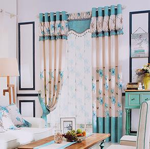 蓝色大花拼接窗帘