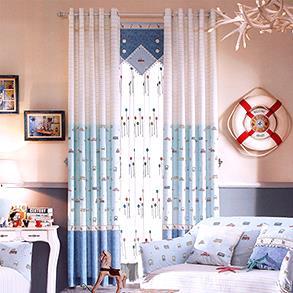 蓝色小汽车儿童房窗帘