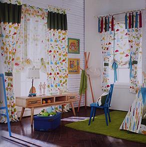 卡通恐龙图案儿童房窗帘