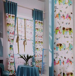 蓝色卡通小象儿童房窗帘