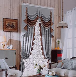 灰咖两色印花拼接窗帘