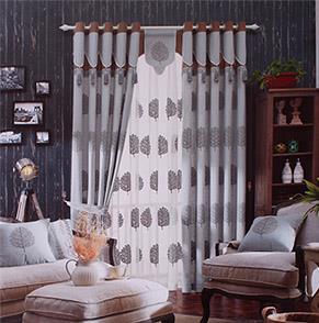 欧式灰色绣花落地窗帘