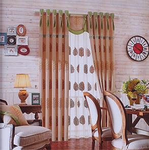 韩式咖色绣花卧室窗帘