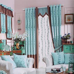 韩式青色绣花卧室窗帘