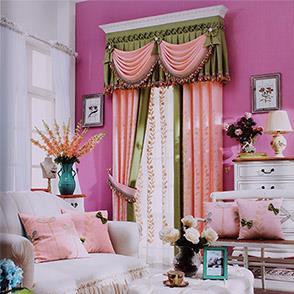 韩式粉色绣花拼接窗帘