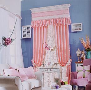 韩式粉色绣花卧室窗帘