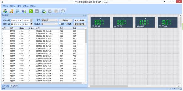 温湿度监控实时网络监测界面图