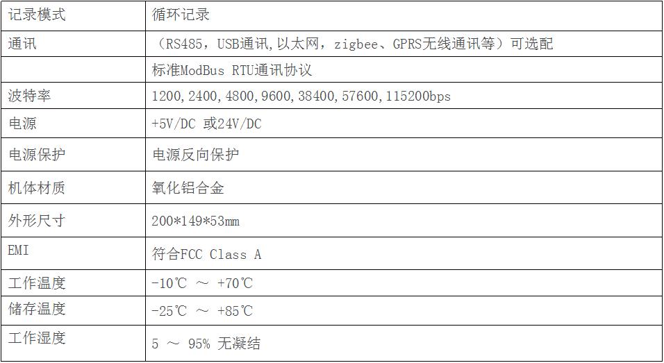 数据记录仪T3主机参数图