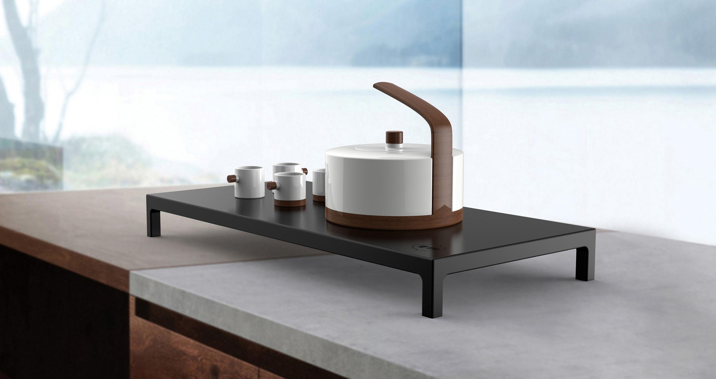 手绘线条茶具黑白色