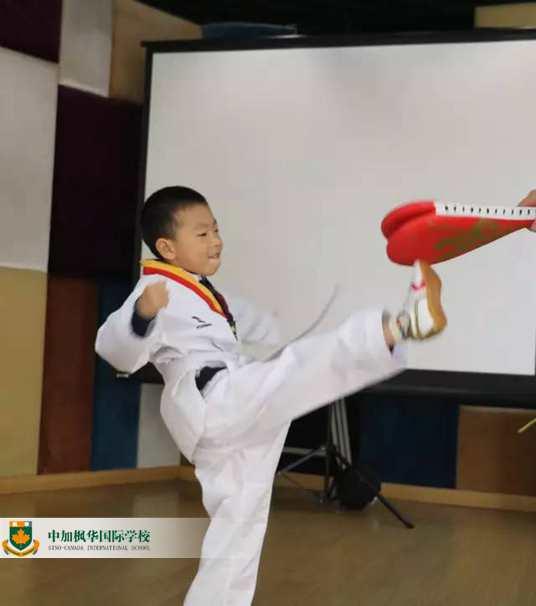 中加枫华幼儿园跆拳道:三岁孩子的格斗动作