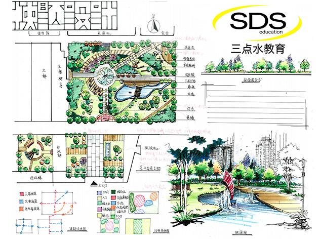 景观快题设计 - 设计考研培训手绘培训 - 三点水考研图片