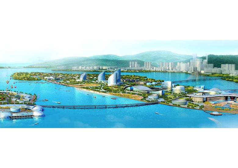 """整体塑造""""海湾天堂""""的海岛形象;月亮岛由商业娱乐区,主题公园区,文化"""