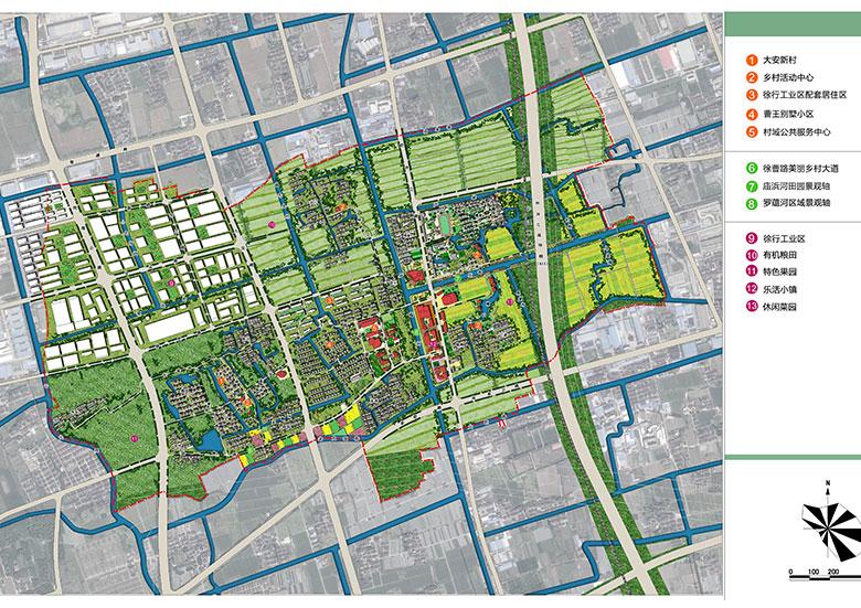 村域空间结构: 遵循有机,特色,适度原则,尊重原村庄居住形态,以水系