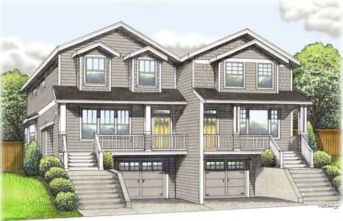 独门独户的房屋联在一起,可以理解为单层的duplex,也就是单层联体别墅