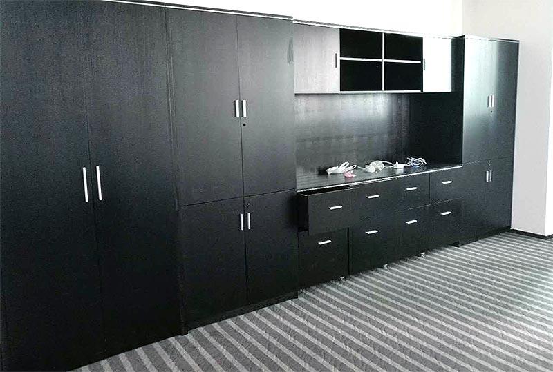 黑色高档大气1.8米文件柜、储物柜