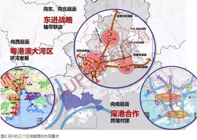 1 现状 (1)2014年底城市建设用地达到市域陆地面积的46%。自2007年以来,深圳通过适度填海、在原特区外和临生态控制线地区寻求发展空间,总的建设用地面积已经接近2020年土规建设用地指标。  (2)城市要素区域化布局,合力参与全球竞争 深圳的区域投资能力和范围扩大,一带一路沿线投资;华为等深圳企业谋划区域布局和全球收购,产业转移园区分布在3+2地区;港莞惠临深地区通勤客流也超过百万人次/日,并逐年增长;居住、旅游配套功能区域化布局,居住在莞、惠临深地区的深圳就业者规模约为6-8万,2