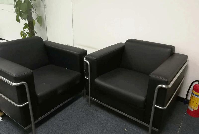 黑色无锈钢底托办公沙发