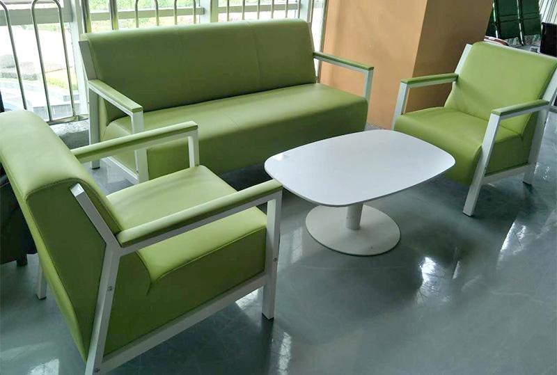 苹果绿舒适办公皮革沙发