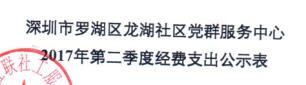 社区中心第二季度支出公示表(龙湖)