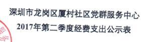 社区中心第二季度支出公示表(厦村)
