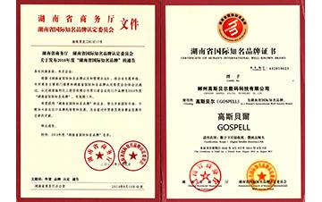 2010高斯贝尔获省国际知名称品牌