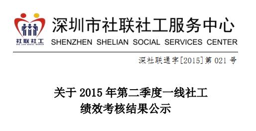 关于2015年第二季度一线社工绩效考核结果公示的通知