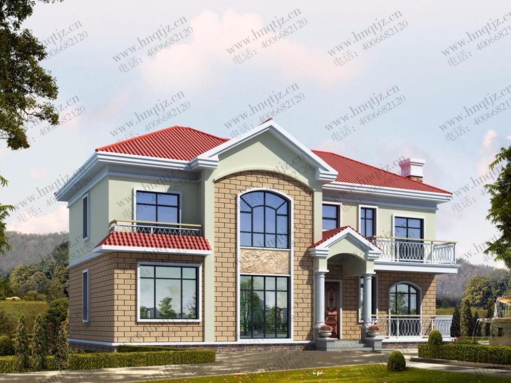 二层带露台小别墅设计图效果图施工图_二层农村自建房屋设计图纸图片