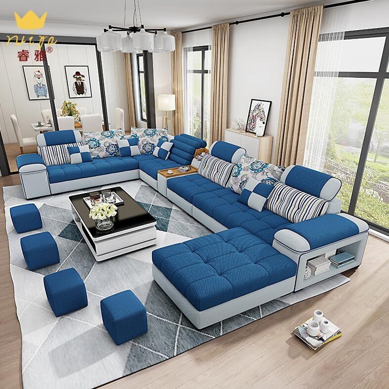 沙发 布艺沙发组合 现代北欧大小户型客厅简约布艺沙发茶几电视柜组合家具 可拆洗 标准版