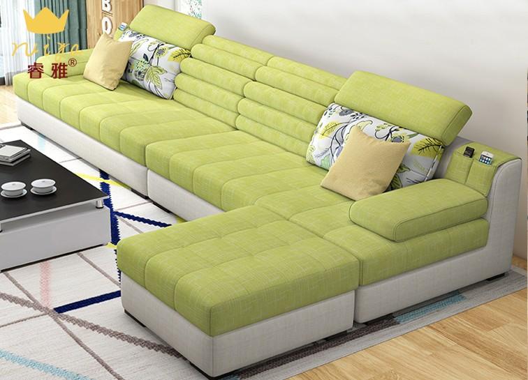 沙发 布艺沙发 现代简约小户型布沙发三人位 组合客厅套装家具