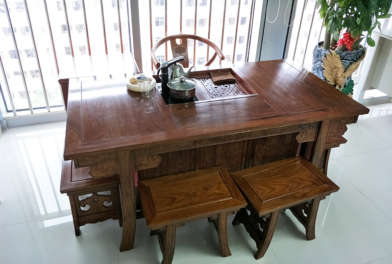 浅胡桃木传统古朴办公茶几、休闲茶几